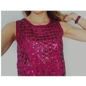 Harper Pink Sequin Beaded Sleeveless Top S